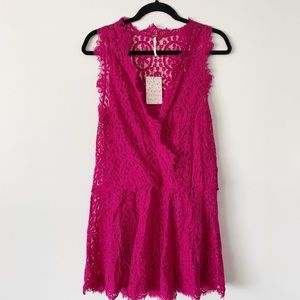 NWT Free People Magenta Lace 'Heart In Two' Dress